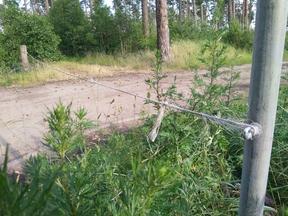 Ein Weg oder eine Durchfahrt ist durch ein Seil o.ä. abgesperrt