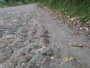 Ein paralleler Trampelpfad entlang einer Natursteinpflasterstraße zeigt den Bedarf von erhöhten Wegekomfort