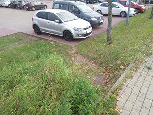 Ein PKW-Stellplatz verhindert die (barrierefreie) Passage für den Fuß- bzw. Radverkehr
