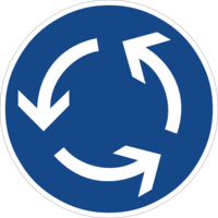 Kreisverkehre können Querungsfurten für den Zweirichtungsradverkehr haben. Eine Kreisverkehr-Anordnung für den Radverkehr steht dann im Widerspruch.