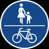 Benutzungspflichtiger Fuß-Radweg (Zeichen 240) unter Mindestbreite, sichere Fahrradnetzdurchlässigkeit gehemmt.