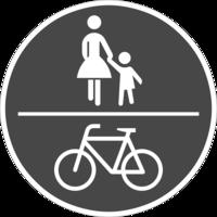 Der Weg ist für den gemeinsamen Fuß- und Radverkehr geeignet, jedoch nicht als solches ausgewiesen