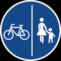 Benutzungspflichtiger, getrennter Fuß-Radweg (Zeichen 241) unter Mindestbreite, sichere Fahrradnetzdurchlässigkeit gehemmt.