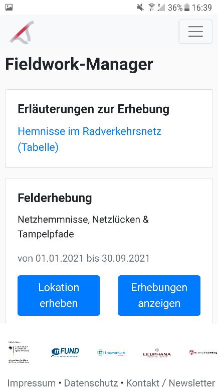 Screenshot 1: Fieldwork-Manager