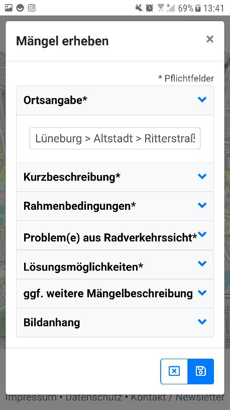 """Screenshot 3: """"Mängel erheben"""" - Dialog"""