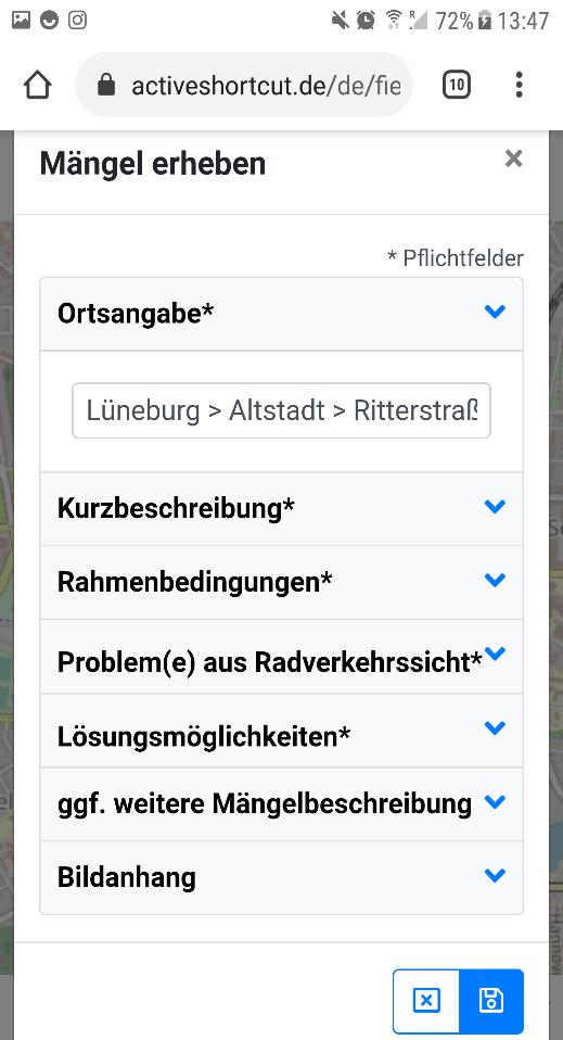 """Screenshot 4: """"Mängel erheben"""" - Dialog"""