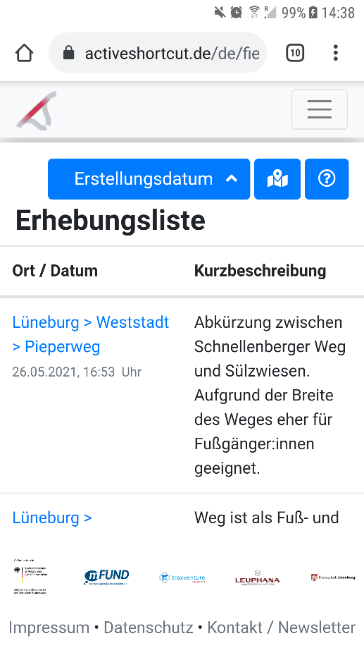 Screenshot 7: Erhebungsliste