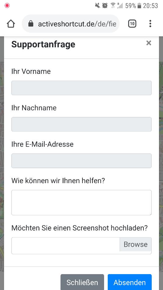 "Screenshot 11: ""Support-Anfrage""- Dialog"